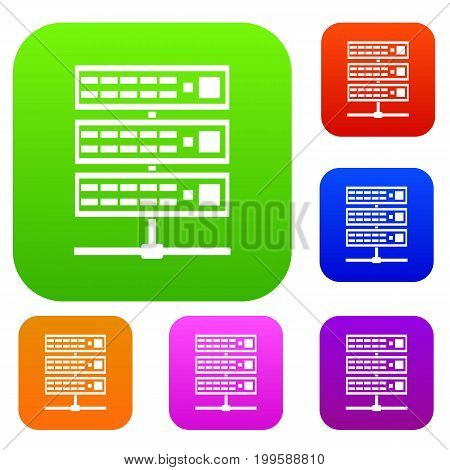 Servers set icon in different colors isolated vector illustration. Premium collection