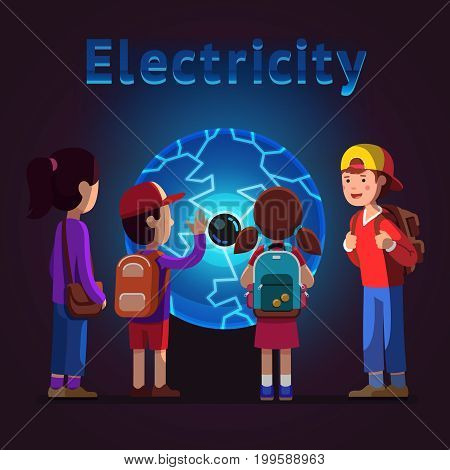 Kids group girls, boys watching, touching big plasma ball globe at electricity museum excursion. School students on field trip together. Educational science exhibition. Flat style vector illustration.