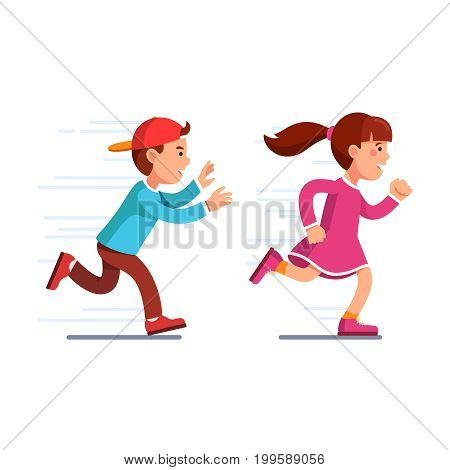School students kids having fun playing catch-up and tag game. Preschool boy in baseball cap running fast and chasing girl in pink dress. Flat style vector illustration isolated on white background.