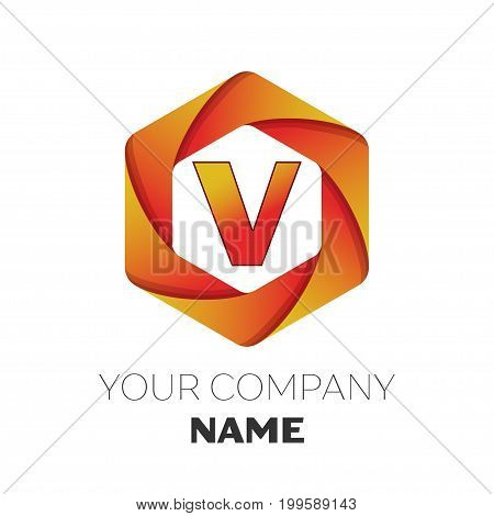 Realistic Letter V vector logo symbol in the colorful hexagonal on white background. Vector template for your design