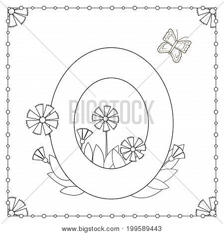 Numeral zero with flowers leaves and butterfly. Coloring page. Vector illustration.