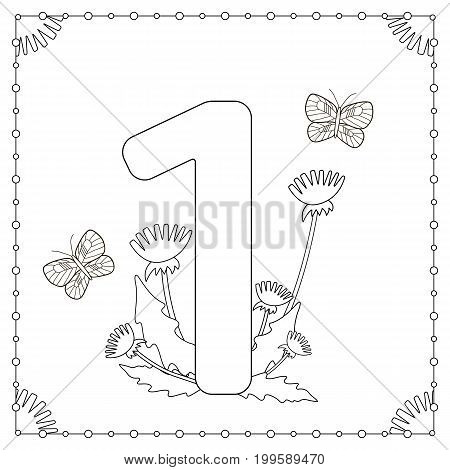 Numeral one with flowers leaves and butterflies. Coloring page. Vector illustration.