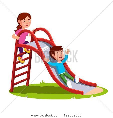 School or preschool kids playing together outside on the kindergarten playground. Little boy sliding down the slide and smiling girl climbing up ladder. Flat vector illustration isolated on white.