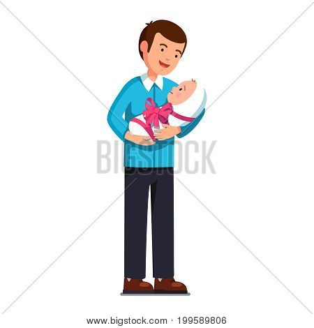 Young father holding his newborn baby son or daughter on hands. Dad embracing toddler child wrapped in swaddling clothes with pink ribbon bow like present. Flat vector illustration isolated on white.