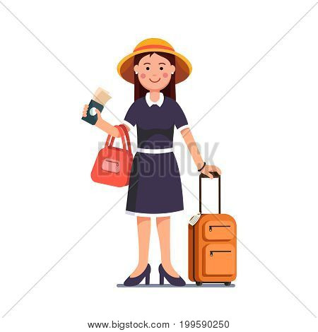 Tourist woman wearing summer dress, hat standing with luggage spinner valise. Traveling girl holding passport and tickets in right hand. Flat style vector illustration isolated on white background.