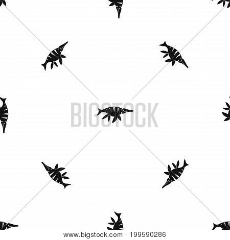 Aquatic dinosaur pattern repeat seamless in black color for any design. Vector geometric illustration