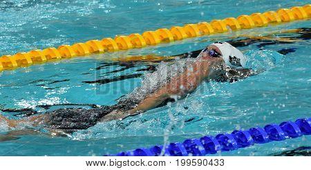 Hong Kong China - Oct 30 2016. Katinka HOSSZU (HUN) swimming in the Women's Backstroke 100m Final. FINA Swimming World Cup Victoria Park Swimming Pool.