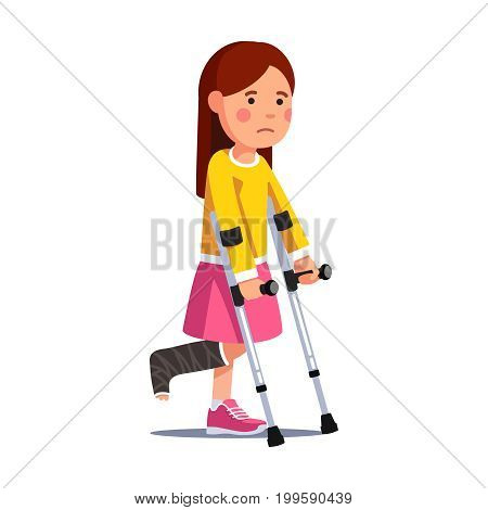 Temporarily disabled sad teenage girl with broken leg bandage cast walking using crutches. Unhappy depressed injured school kid. Flat style vector illustration isolated on white background.