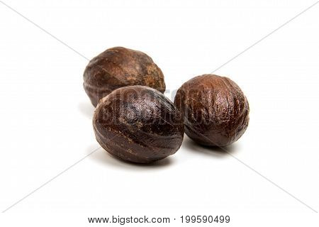 Nutmeg herb ingredient isolated on white background