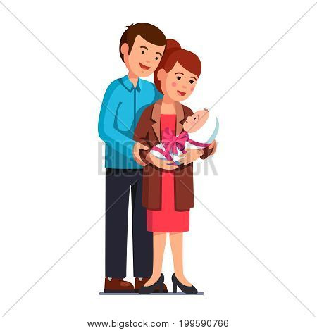 Parents family mom, dad standing embracing newborn baby on hands wrapped in swaddling clothes, present pink ribbon bow. Mother holding little toddler kid. Flat vector illustration isolated on white.