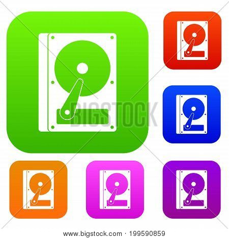 HDD set icon in different colors isolated vector illustration. Premium collection