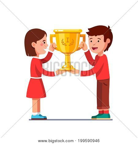 Winners kids boy, girl holding champion golden cup together. Happy proud children winning celebration with first place trophy achievement. Flat style vector illustration isolated on white background.