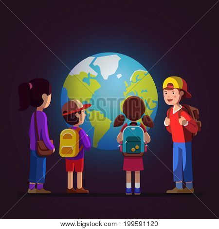 Group of kids girls, boys watching big earth terrestrial globe model at geological science museum excursion. School teen students with backpacks on field trip together. Flat style vector illustration.