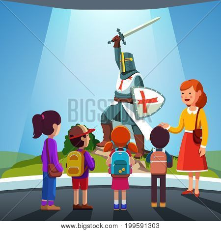 Group of kids girls, boys watching armored templar knight with helmet, sword, shield at historical museum excursion. School students field trip together with teacher woman. Flat vector illustration.