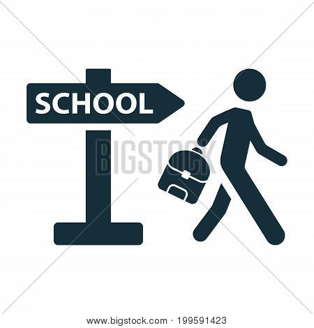 Schoolboy Pupil Going To School Signpost Icon