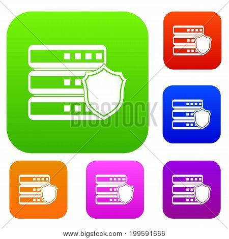 Database with gray shield set icon in different colors isolated vector illustration. Premium collection