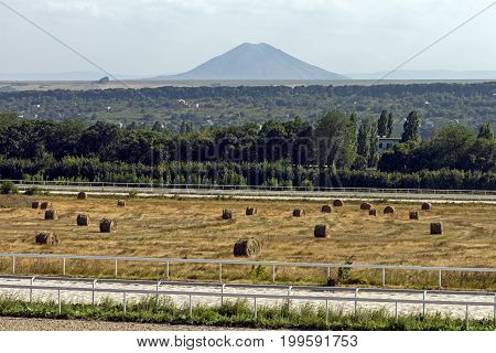 A beautiful view of the mountain Dzhutsa from the Pyatigorsk racecourse,Northern Caucasus,Russia.