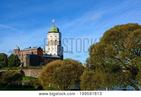 Old Castle And Saint Olaf Tower In Vyborg, Russia