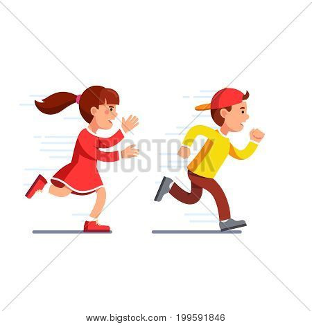 School students kids having fun playing catch-up and tag game. Preschool girl running fast and chasing boy in baseball cap. Flat style vector illustration isolated on white background.