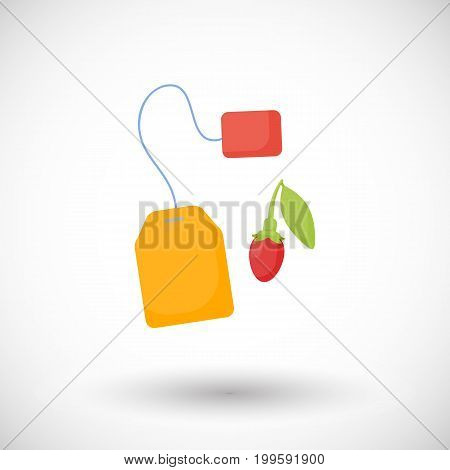 Goji berries tea vector flat icon Flat design of superfood wolfberry Chinese medicine herb or healthy eating object with round shadow isolated on the white background cute vector illustration