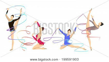 Gymnastics with tape. Women in outfit with tape.