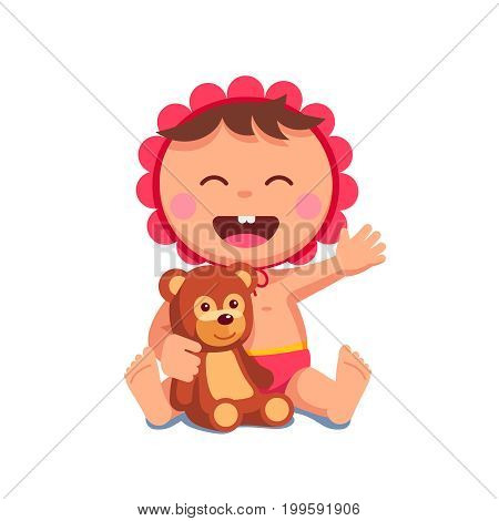Newborn baby girl in bonnet, diapers laughing sitting with opened mouth embracing teddy bear. Happy little toddler daughter playing plush toy. Flat vector illustration isolated on white background.