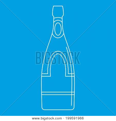 Champagne bottle icon blue outline style isolated vector illustration. Thin line sign