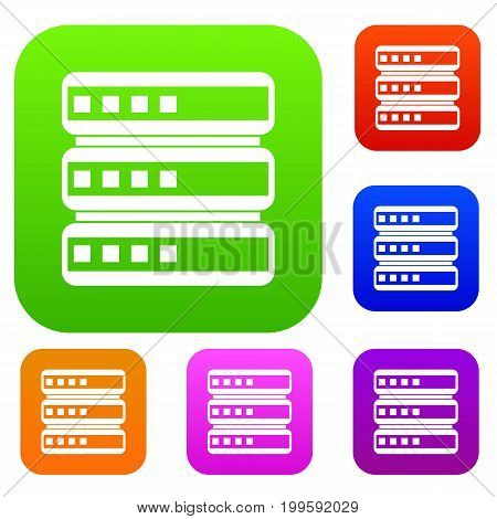 Database set icon in different colors isolated vector illustration. Premium collection