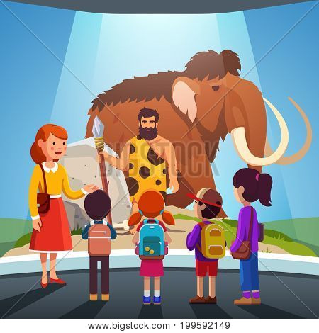 Group of kids girls, boys watching big mammoth and prehistoric primitive caveman on display at anthropology museum. School students on field trip together with teacher. Flat style vector illustration.