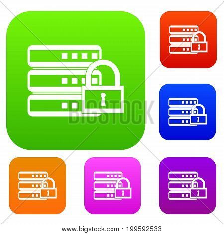 Database with padlock set icon in different colors isolated vector illustration. Premium collection