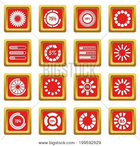 Loading bars and preloaders icons set in red color isolated vector illustration for web and any design
