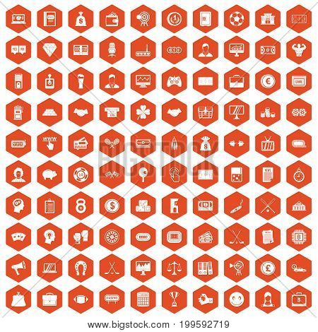 100 sweepstakes icons set in orange hexagon isolated vector illustration