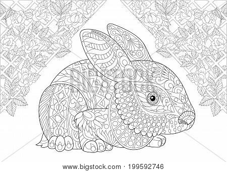 Coloring page. Rabbit from wonderland and rose flowers. Freehand sketch drawing for adult antistress colouring book in zentangle style.