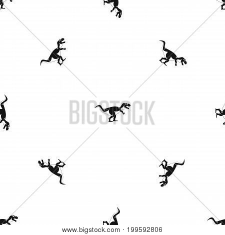 Tyrannosaur dinosaur pattern repeat seamless in black color for any design. Vector geometric illustration