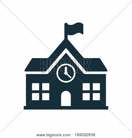 School Building Icon On White Background