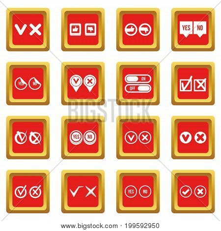 Check mark icons set in red color isolated vector illustration for web and any design