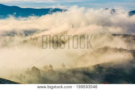 Thick Fog Over The Rural Hills In Morning Light
