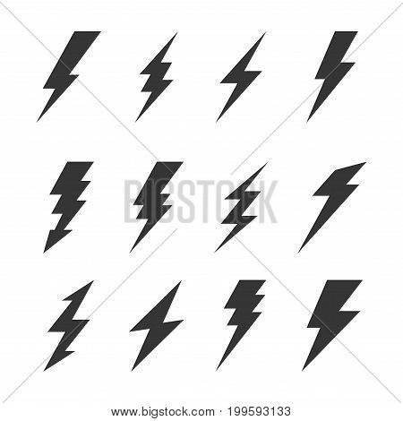 Thunder and Bolt Lighting Flash Icons Set. Vector illustration