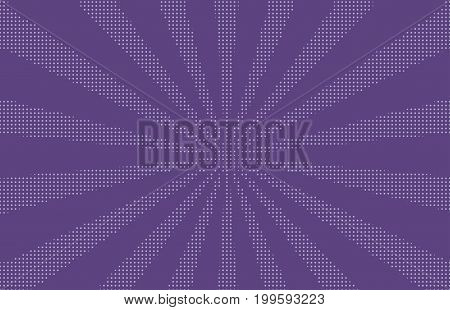 Halftone dotted background. Pop art style. Pattern with circles, dots. Radiating from the center starburst, sun burst rays, lines. Backdrop, design for web banners, Wallpaper,sites Vector illustration