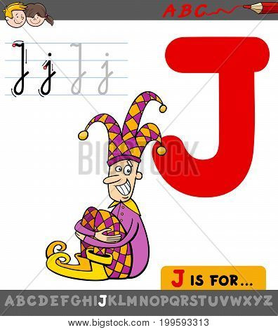 Letter J With Cartoon Jester Character