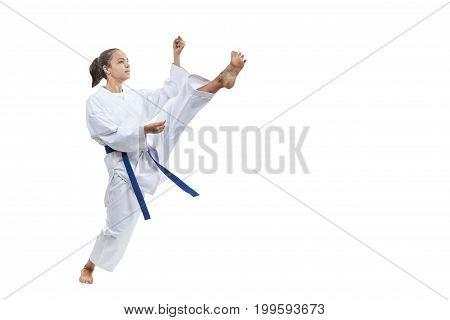 Kick leg forward is training an adult athlete