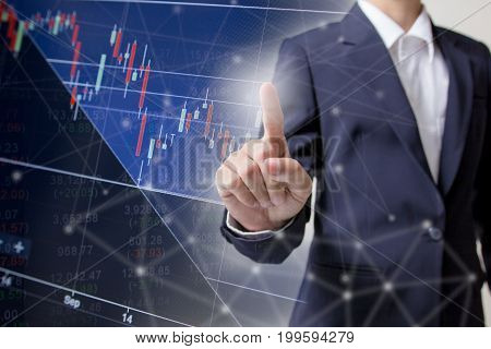 Profit graph of stock market indicator with hand shake background. Abstract stock data concept. Stock financial statistic graph analysis. Financial fund trade overview in profit graph. Concept Finance