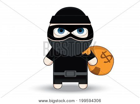 Thief Flat character design. Bandit with money bag. Robber in mask. Cartoon Vector Illustration. Thief in a mask sneaking with a sack.