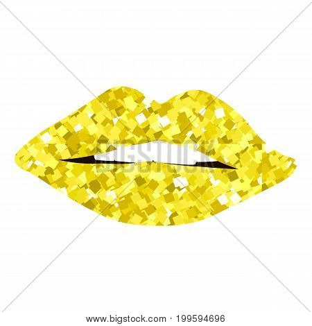 Golden lips girl silhouette isolated on white background. Icon gold lips