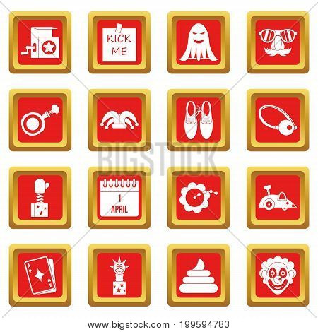 April fools day icons set in red color isolated vector illustration for web and any design
