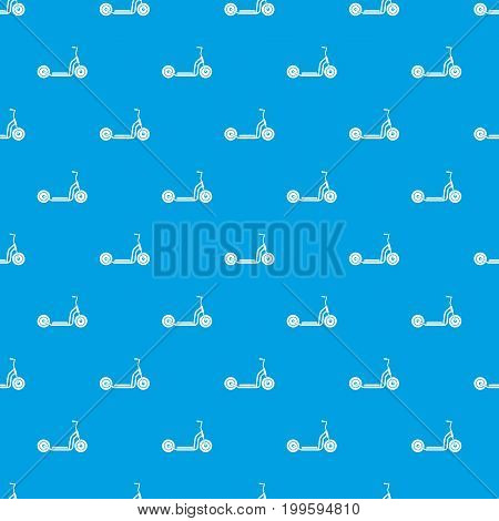 Kick scooter pattern repeat seamless in blue color for any design. Vector geometric illustration