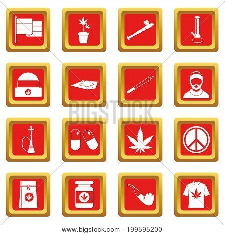 Rastafarian icons set in red color isolated vector illustration for web and any design