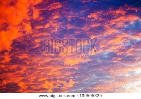 Dramatic sky background on sunrise. Nature composition.