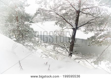 Winter river in the early misty morning. Nature composition.