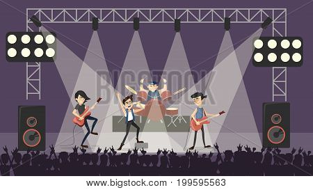 Rock band at concert. Guys in rocking outfit with musical instruments.